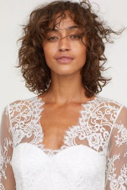 H&M Long lace sleeve wedding dress Ivory