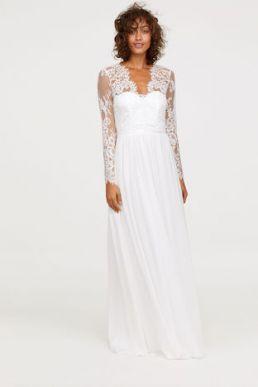 H&M Long lace sleeve wedding dress Ivory