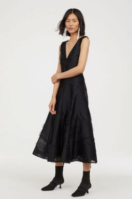H&M Jacquard-weave silk dress Black