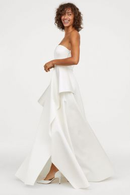 H&M Long bandeau wedding dress Ivory