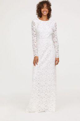 H&M Long lace sleeve wedding bridal dress Ivory