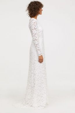 H&M Long lace sleeve wedding bridal dress Ivory