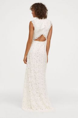 H&M Long lace Sleeveless wedding dress Ivory
