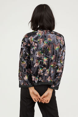 H&M Sequin-embroidered jacket Multi Black