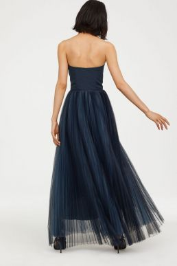 H&M Strapless Maxi Dress with a tulle skirt Navy