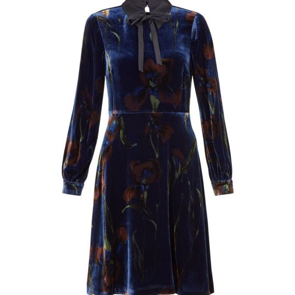 Hobbs Eliora Print Sleeve Velvet Dress Navy Multi
