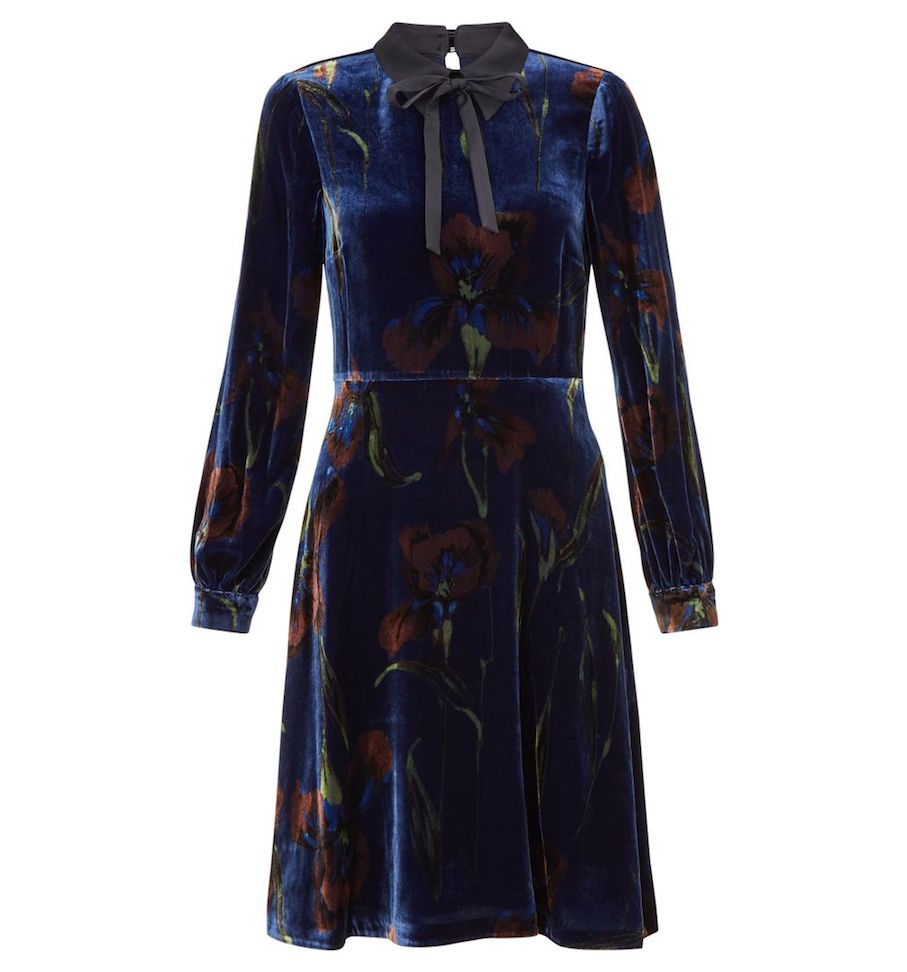 f8628a02c9e3 Hobbs Eliora Print Sleeve Velvet Dress