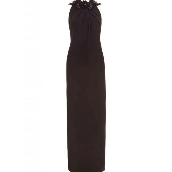 Hobbs Emerson Floral Halter Maxi Dress Black