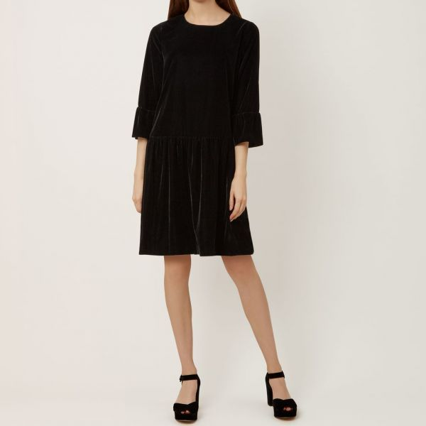 Hobbs Giana Sleeve Velvet Dress Black