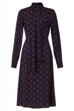 Hobbs Phillipa Spot Sleeve Dress Navy Orange