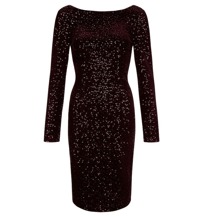 Hobbs Sawyer Velvet Dress Plum Purple