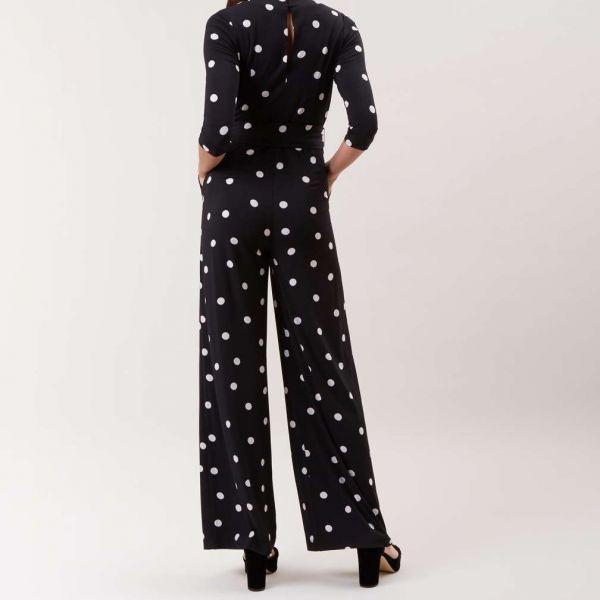 Hobbs Sleeved Jordanna Spot Jumpsuit Black Black