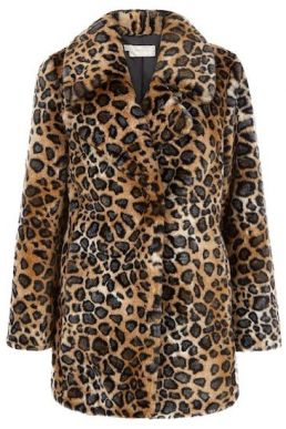 Hobbs Georgiana Leopard Coat Brown Multi