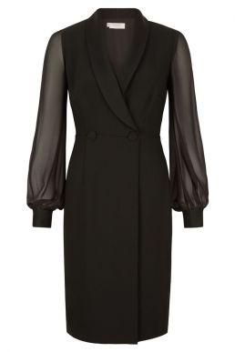 Hobbs Lana Tux Shift Dress Black
