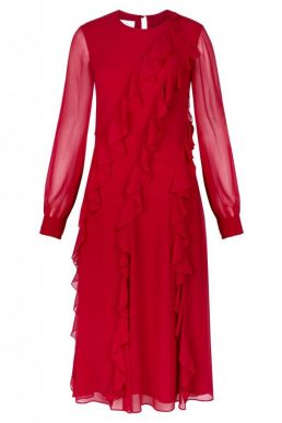 Hobbs Mahalia Frill Dress Red