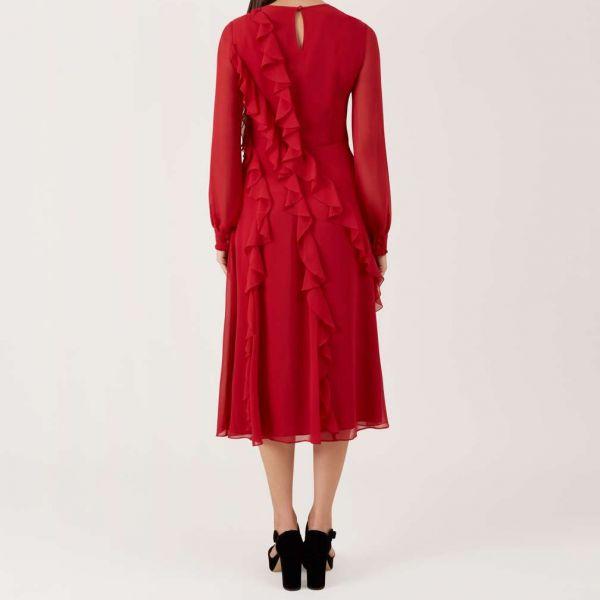 Hobbs Mahalia Frill Dress Red