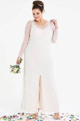 Joanna Hope Beaded Sleeve Bridal Maxi Dress Ivory