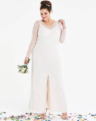 16c2e6d5af2 Joanna Hope Beaded Sleeve Bridal Maxi Dress Ivory. Joanna Hope Beaded  Sleeve Bridal Maxi Dress Ivory