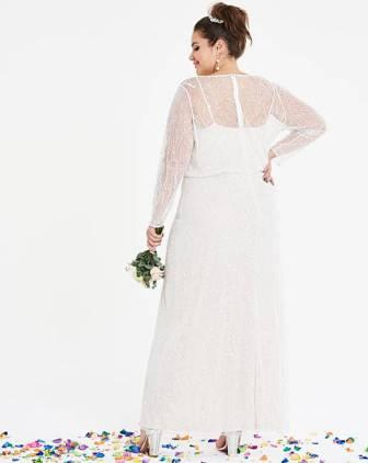 0c923d6ae4423 Joanna Hope Beaded Sleeve Bridal Maxi Dress