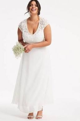 Joanna Hope Applique Floral Lace Bridal Dress Ivory