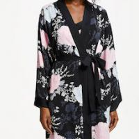 John Lewis & Partners Gloria Floral Satin Dressing Gown Black Multi