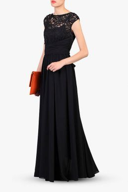 Jolie Moi Lace Bodice Pleated Maxi Dress Black