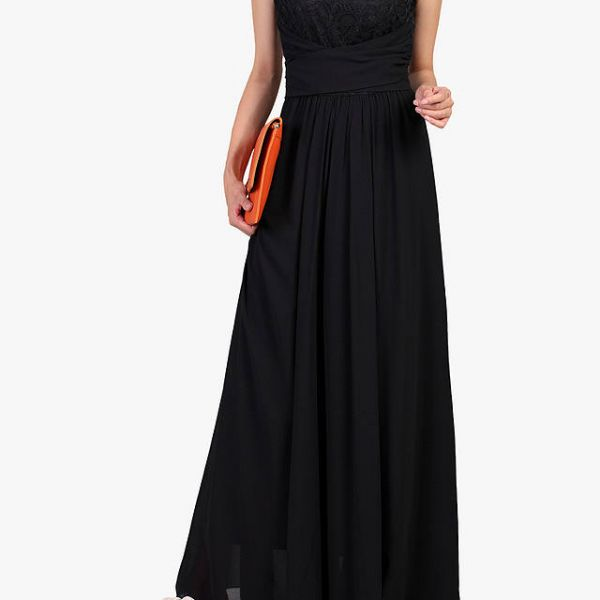 c78032fa04c9 Jolie Moi Lace Bodice Pleated Maxi Dress Black. Jolie Moi Lace Bodice  Pleated Maxi Dress Black