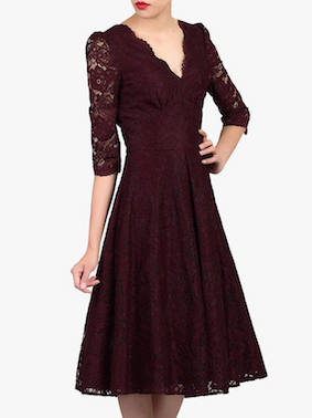 Jolie Moi Puff Shoulder V-Neck Lace Dress Burgundy