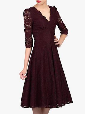 Jolie Moi Puff Shoulder V-Neck Lace Dress Burgundy