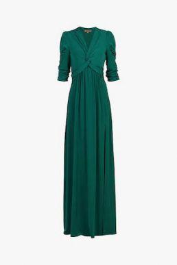 Jolie Moi Twist Knot Front Dress Dark Green