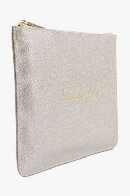 Katie Loxton Beautiful Daughter Pouch Metallic White