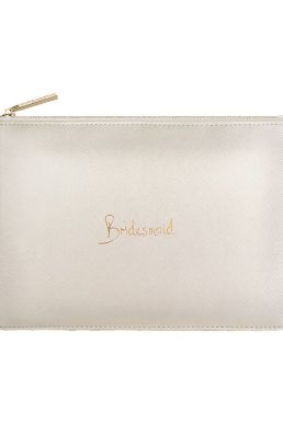 Katie Loxton 'Bridesmaid' Perfect Pouch Metallic White