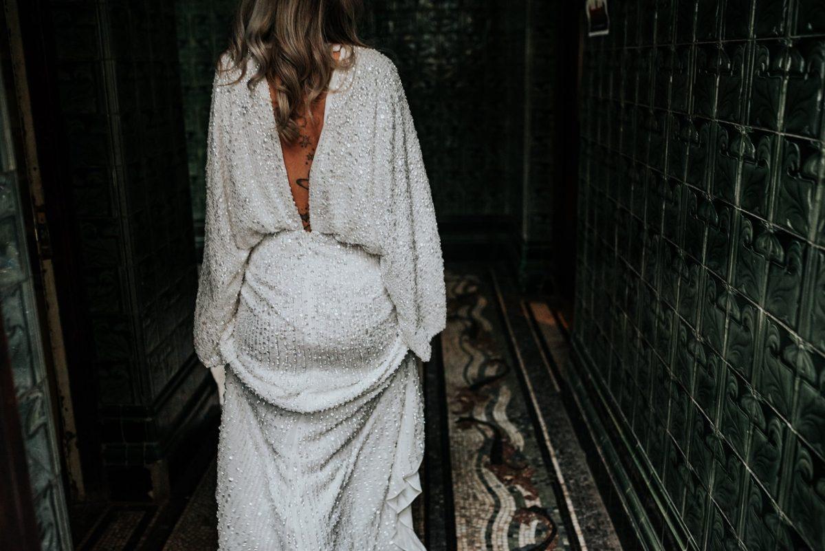 ASOS EDITION sequin kimono sleeve wedding dress white