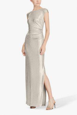Lauren Ralph Lauren Walt Cap Sleeve Dress Gold