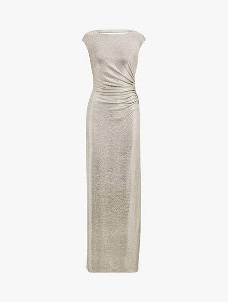 47fbed4db1d7 Lauren Ralph Lauren Walt Cap Sleeve Dress, Gold   myonewedding.co.uk