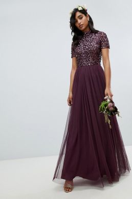 Maya high neck maxi tulle sequin bridesmaid maxi dress Berry Purple