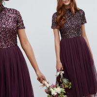 Maya high neck maxi tulle sequin bridesmaid dress Berry Purple