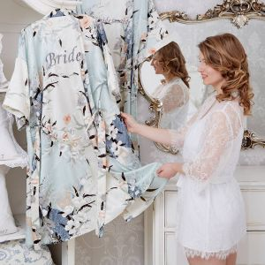 Personalised Bridal Blossom Dressing Gown Multi