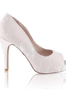 Perfect Celia Lace Peep Hidden Bridal Platform Pink Blush