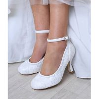 Perfect Dixie Lace Bridal Court Ankle Strap Ivory
