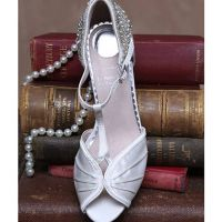 Perfect Jessie T-Bar Art Deco Trim Bridal Shoe Ivory