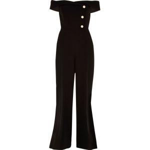 River Island Black bardot tux wide leg jumpsuit