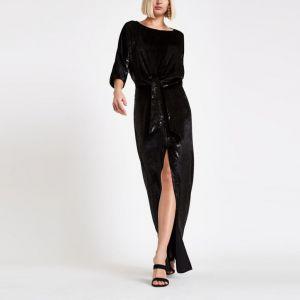 River Island Black velvet knot front split maxi dress