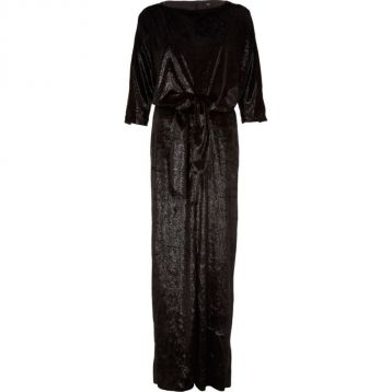 River Island Black velvet knot front split maxi dress