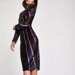 River Island Bright purple sequin high neck bodycon dress