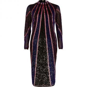 River Island Bright purple sequin high neck bodycon dress