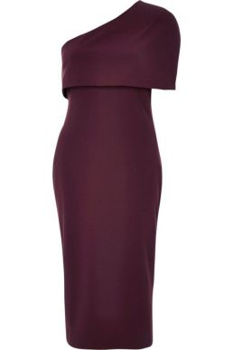 River Island Burgundy one shoulder cape bodycon dress