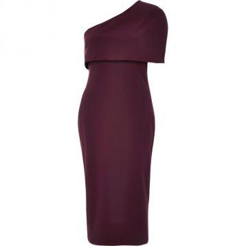 a1c84b18 River Island Burgundy one shoulder cape bodycon dress | myonewedding.co.uk