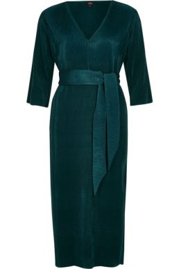 River Island Dark green tie waist plisse midi dress