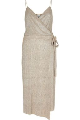 River Island Gold metallic plisse tie waist midi dress